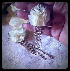 Vintage Chiffon Flower & Rhinestone Earrings